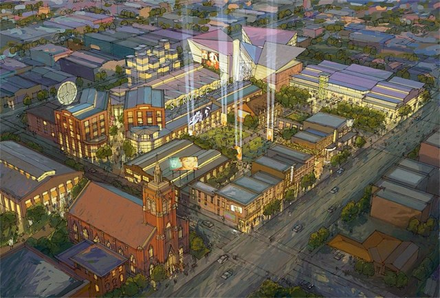 A development proposal for the entire block floated in 2009. (Courtesy Village Solutions)