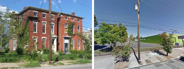 The last two Italianate houses on Breckinridge Street have been torn down for a parking lot.
