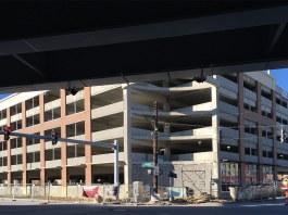 The garage under construction in early January. (Branden Klayko / Broken Sidewalk)