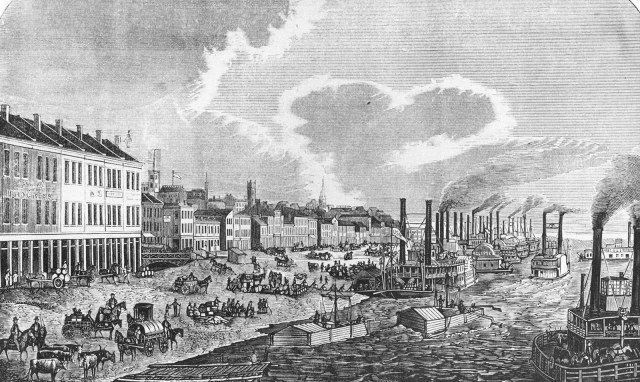 A view of the Louisville wharf in 1856. (Louisville Historical League)