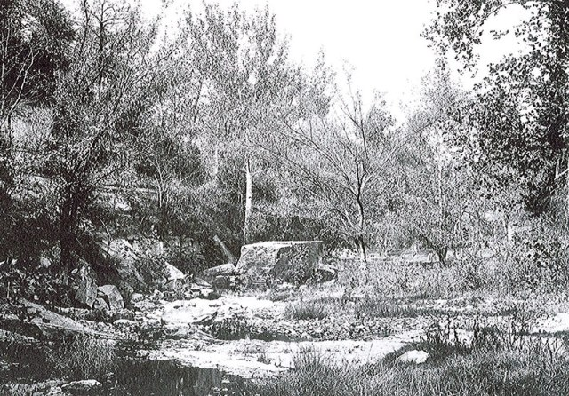 An early view of Big Rock in Cherokee Park circa 1903.