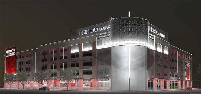 Rendering showing the garage glowing at night. (Courtesy Nucleus)