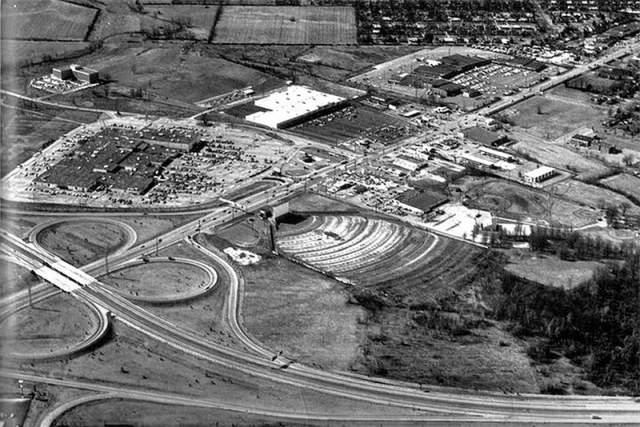 Mall St. Matthews at the intersection of the Watterson Expressway and Shelbyville Road in 1967 when it was known simply as The Mall. (Courtesy University of Louisville Photographic Archives)