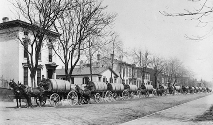 In 1861, crews from the Louisville Water Company watered the city's dirt roads to keep dust down. (Courtesy Metro Louisville)