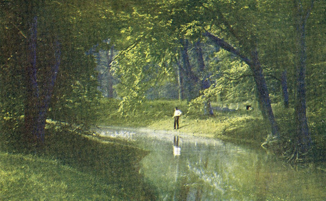 A scene along Beargrass Creek in Cherokee Park circa 1909. (Courtesy of the National Park Service, Frederick Law Olmsted National Historic Site)