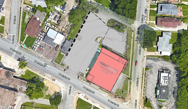 The Family Dollar store and parking lot overlaid on an aerial view of the site. (Courtesy Google; Metro Louisville; Montage by Broken Sidewalk)