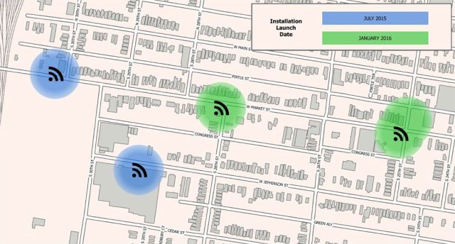 Map showing Russell Wi-Fi hotspots. (Courtesy Mayor's Office)