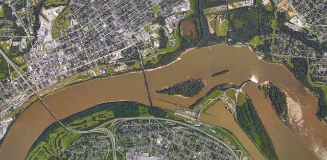 The K&I Bridge connects New Albany and Louisville's Portland neighborhood. (Courtesy Google)