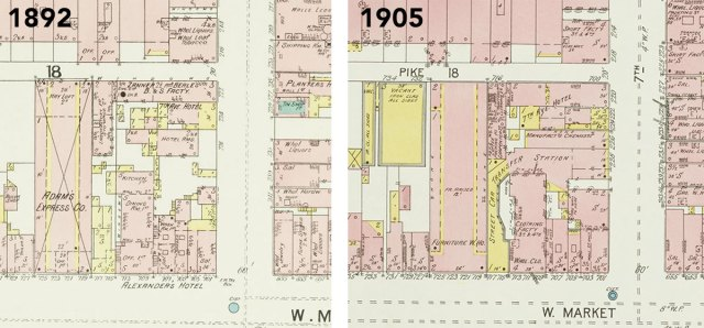 Alexander's Hotel visible in the 1892 map, but by 1905 the site is a clothing factory. (Courtesy Kentucky Virtual Library)
