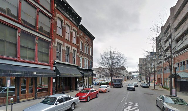The hotel will fill a gap in the Seventh Street streetwall on the left. (Courtesy Google)