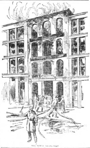 Drawing of the Menne Candy Shop Fire.