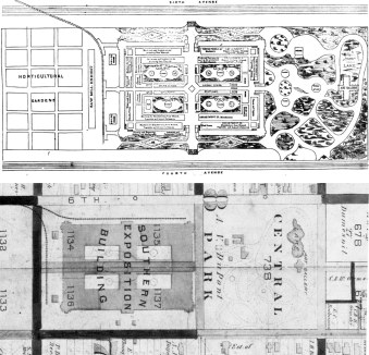 Plan of the Southern Exposition grounds circa 1883, top, and another site plan from the 1884 Louisville City Atlas, below. (Via Old Louisville Guide)