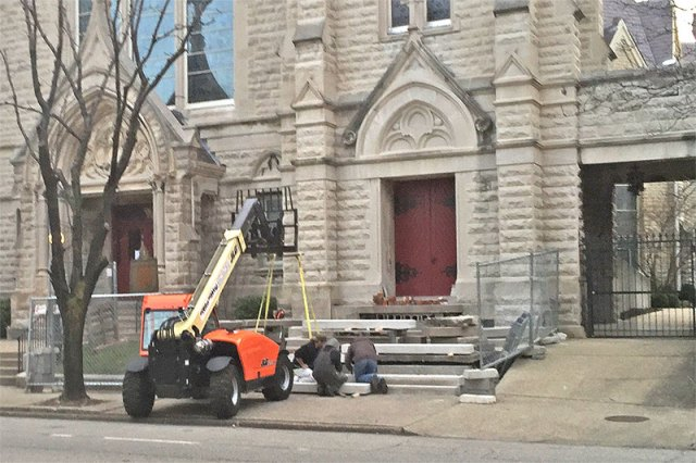 New limestone steps being installed at Calvary Episcopal Church. (Courtesy Tipster)