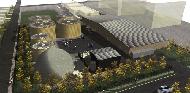 Rendering of the proposed biodigesters at 17th and Maple streets. (Courtesy STAR BioEnergy)