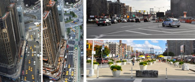 Before and after at Columbus Circle (left) and on Delancey Street (right), New York City. (Courtesy NYC DOT)