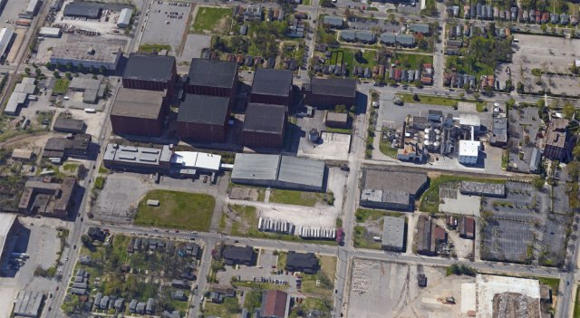 Aerial view of the California neighborhood biodigester location, showing the Heaven Hill Distillery and houses around the site. (Courtesy Google)