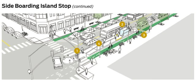A boarding island can improve transit service, as well as prioritize comfort for riders. (Courtesy NACTO)