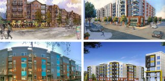 Clockwise from top left: Phoenix Hill Apartments by Edwards Companies; Main & Clay by Bristol; Axis Apartments by Cityscape; and Amp Apartments by Milhaus.