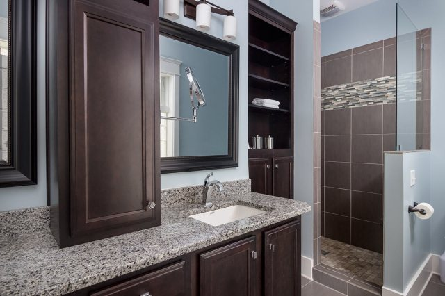 A well-appointed master bath at the Gruenig Residence. (JL Jordan Photography)
