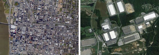 Downtown Louisville, left, and Cedar Grove Business Park, right, at the same scale. (Courtesy Google)