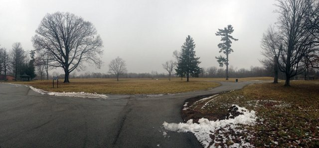 The former Central State Hospital was located on the far ridge; it was demolished in 1996. The driveways have been repaved, but are original to the hospital grounds. (Courtesy Jessica McCarron, Feb. 2016)