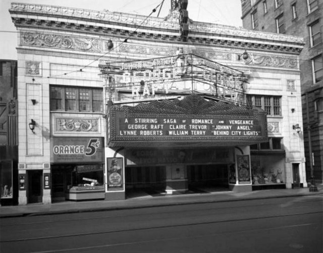The gleaming white Rialto Theater circa 1945. (Courtesy UL Archives - Reference)