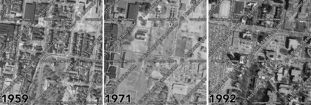 Aerial photos from 1959, 1971, and 1992 showing the gradual evolution of the area. (Courtesy NETR Historic Aerials)