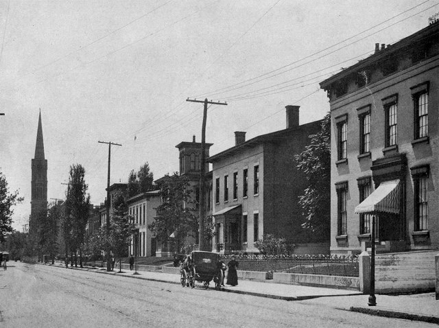 Fourth Street around the Civil War would have been lined with houses. This view shows the west side of Fourth looking south from Chestnut toward Broadway. (UL Photo Archives)