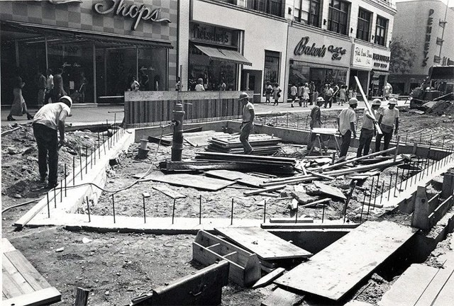 Building landscaping elements in the middle of the street, like this home plate base for the Louisville Clock. (Brokn Archives)