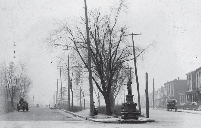 The northern point of the Third Street Triangle, now Stansbury Park circa 1901 showing a fountain that no longer exists. (Courtesy Stansbury Park Master Plan)