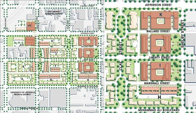 The original master plan for Liberty Green called for a dense arrangement of mixed-use residential structures along Shelby Street. (Courtesy AU Associates)