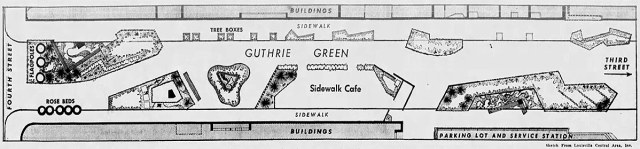 Site plan for the pop-up Guthrie Green in 1960. (Louisville Central Area)