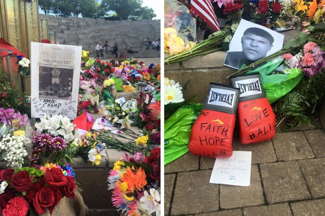 Tributes to Muhammad Ali at the Ali Center Plaza. (Courtesy Muhammad Ali Center)