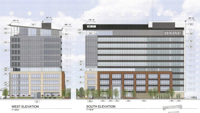 Elevations for Building Two at The Nucleus. (BHDP Architecture / Via Metro Louisville)