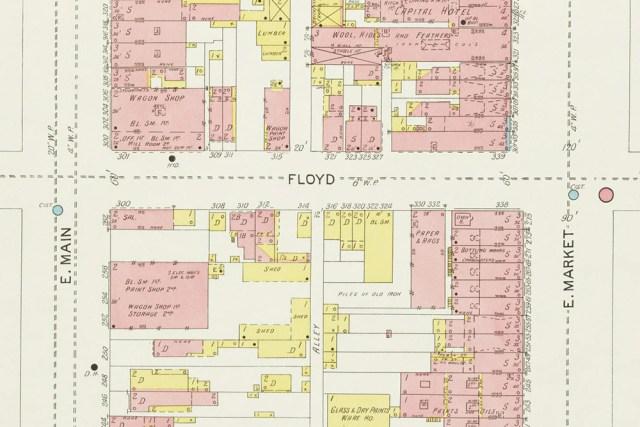 A 1905 Sanborn map of Floyd Street. (Courtesy KYVL)