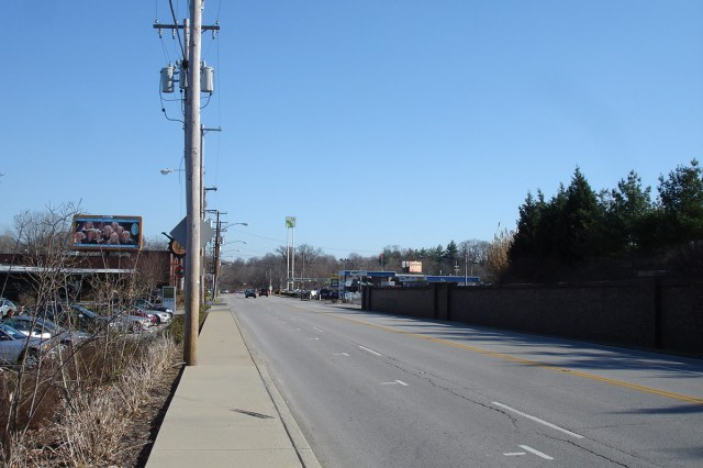 A view of Lexington Road looking towards the project side on the right. (Branden Klayko / Broken Sidewalk)