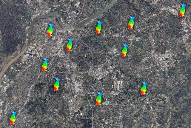 Location of eleven Google Fiber Huts across Louisville. (Montage by Broken Sidewalk)