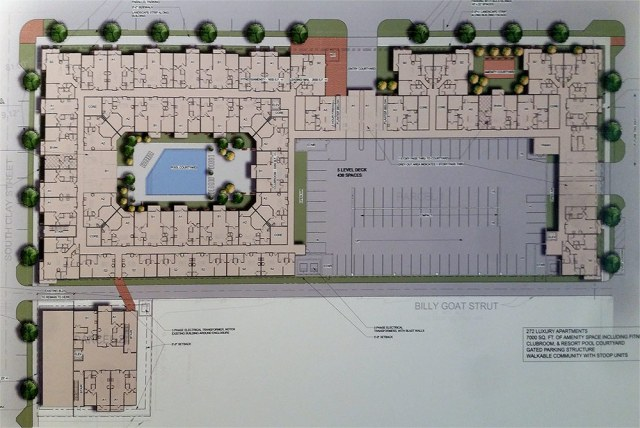 Site plan of the 700 East Main proposal presented Tuesday evening. (Flournoy Companies / Photo by Jacob Ryan, WFPL)