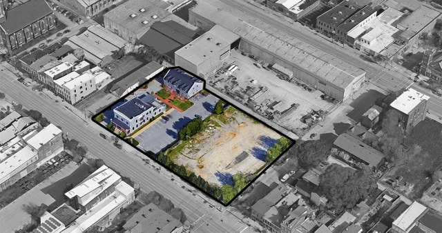 Aerial view of the AC Hotel Nulu site including two historic buildings that will be renovated during the project. (Google Maps / Broken Sidewalk)