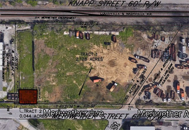 The site of the Meriwether Avenue Google Fiber Hut indicated in red. (Montage by Broken Sidewalk)