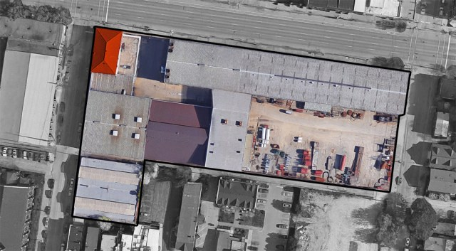 The 700 East Main site indicated with a black outline and the historic corner building highlighted in orange. (Map by Google / Montage by Broken Sidewalk)