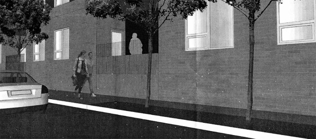 Ground floor apartments effectively create a blank wall along the street, seen here along Guthrie. (GBBN)