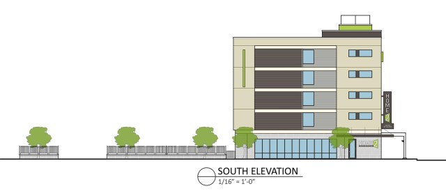 Jefferson Street elevation on the Home2Suites hotel. (Courtesy City Properties Group)