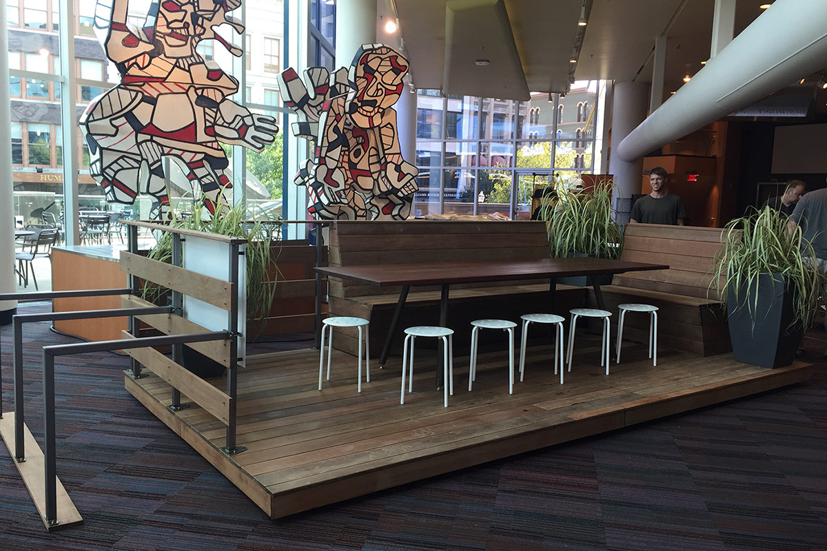 Louisvilles First Parklet Debuts At IdeaFestival Headed For - Restaurant community table