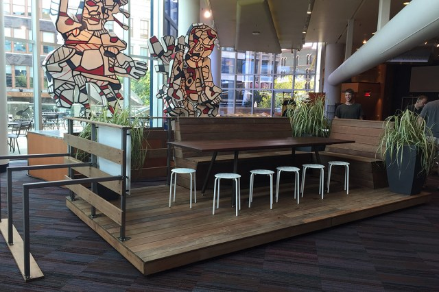 The Community Table parklet is on display at IdeaFestival 2016. (Courtesy Nomi Design)