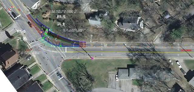 Planned bike lane at Castlewood and Barret. (Courtesy Metro Louisville)