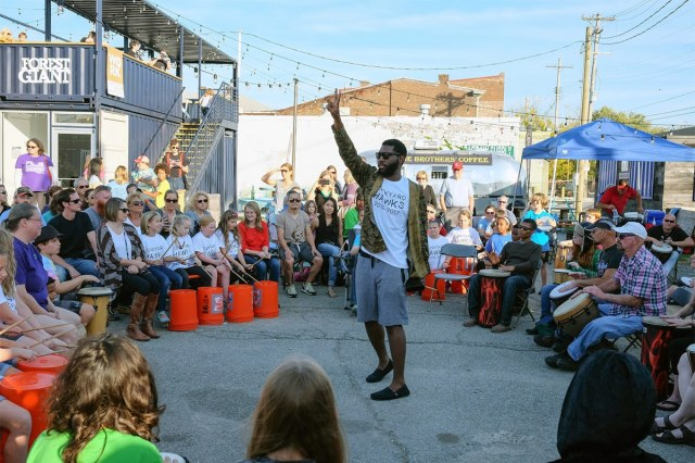 A drum circle event at the 2016 ReSurfaced draws a crowd. (Courtesy ReSurfaced)