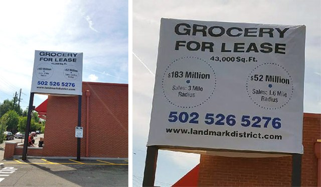 A new sign advertising the site appeared on Oak Street this week. (Courtesy Tipster)