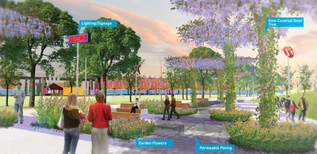 Rendering of the potential future view of Waterfront Park along Rowan Street. (MKSK / Courtesy WDC)