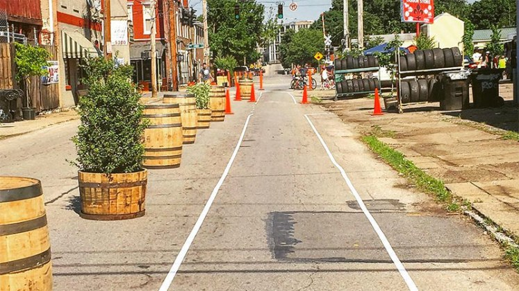 A protected bike lane demonstration on Oak Street was part of Better Block Shelby Park. (Courtesy Louisville Forward / Instagram)